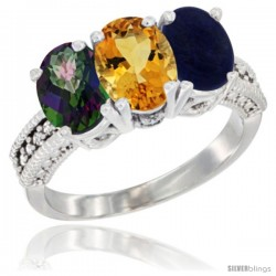 14K White Gold Natural Mystic Topaz, Citrine & Lapis Ring 3-Stone 7x5 mm Oval Diamond Accent