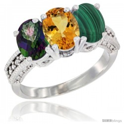 14K White Gold Natural Mystic Topaz, Citrine & Malachite Ring 3-Stone 7x5 mm Oval Diamond Accent
