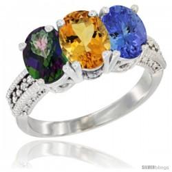 14K White Gold Natural Mystic Topaz, Citrine & Tanzanite Ring 3-Stone 7x5 mm Oval Diamond Accent