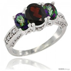 14k White Gold Ladies Oval Natural Garnet 3-Stone Ring with Mystic Topaz Sides Diamond Accent