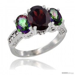 14K White Gold Ladies 3-Stone Oval Natural Garnet Ring with Mystic Topaz Sides Diamond Accent