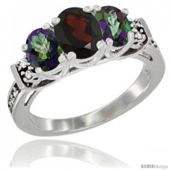 14K White Gold Natural Garnet & Mystic Topaz Ring 3-Stone Oval with Diamond Accent