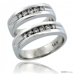 14k White Gold 2-Piece His (5.5mm) & Hers (5.5mm) Diamond Wedding Ring Band Set w/ 0.66 Carat Brilliant Cut Diamonds