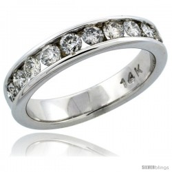 14k White Gold 10-Stone Ladies' Diamond Ring Band w/ 0.74 Carat Brilliant Cut Diamonds, 3/16 in. (4.5mm) wide