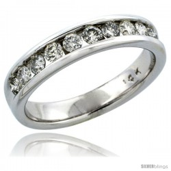 14k White Gold 10-Stone Men's Diamond Ring Band w/ 0.74 Carat Brilliant Cut Diamonds, 3/16 in. (5mm) wide