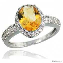 Sterling Silver Diamond Natural Citrine Ring Oval Stone 9x7 mm 1.76 ct 1/2 in wide