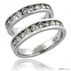 14k White Gold 2-Piece His (5mm) & Hers (4.5mm) Diamond Wedding Ring Band Set w/ 1.48 Carat Brilliant Cut Diamonds