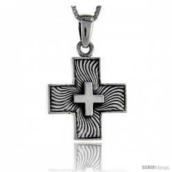 Sterling Silver Cross Pendant, 1 in tall -Style Pa1292