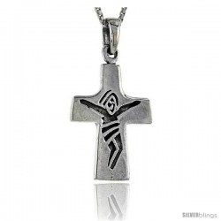 Sterling Silver Crucifix Pendant, 1 1/4 in tall