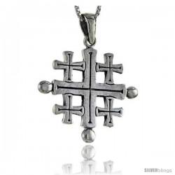 Sterling Silver Jerusalem Cross Pendant 1 1/2 in Tall