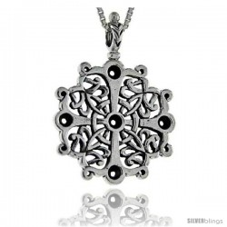 Sterling Silver Cross Pendant, 1 in X 1 3/8 in