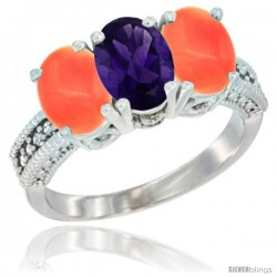 14K White Gold Natural Amethyst Ring with Coral 3-Stone 7x5 mm Oval Diamond Accent