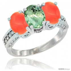 14K White Gold Natural Green Amethyst Ring with Coral 3-Stone 7x5 mm Oval Diamond Accent