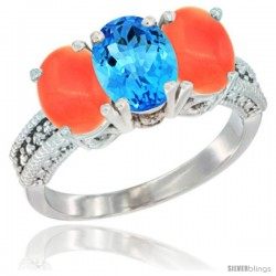 14K White Gold Natural Swiss Blue Topaz Ring with Coral 3-Stone 7x5 mm Oval Diamond Accent