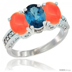 14K White Gold Natural London Blue Topaz Ring with Coral 3-Stone 7x5 mm Oval Diamond Accent