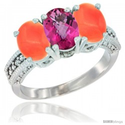 14K White Gold Natural Pink Topaz Ring with Coral 3-Stone 7x5 mm Oval Diamond Accent