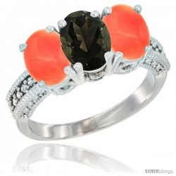 14K White Gold Natural Smoky Topaz Ring with Coral 3-Stone 7x5 mm Oval Diamond Accent