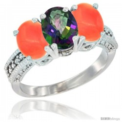 14K White Gold Natural Mystic Topaz Ring with Coral 3-Stone 7x5 mm Oval Diamond Accent
