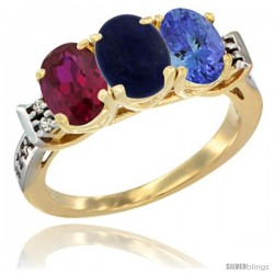 10K Yellow Gold Natural Ruby, Lapis & Tanzanite Ring 3-Stone Oval 7x5 mm Diamond Accent
