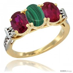 10K Yellow Gold Natural Malachite & Ruby Sides Ring 3-Stone Oval 7x5 mm Diamond Accent
