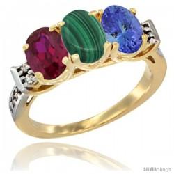 10K Yellow Gold Natural Ruby, Malachite & Tanzanite Ring 3-Stone Oval 7x5 mm Diamond Accent
