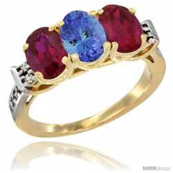 10K Yellow Gold Natural Tanzanite & Ruby Sides Ring 3-Stone Oval 7x5 mm Diamond Accent
