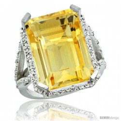 Sterling Silver Diamond Natural Citrine Ring 14.96 ct Emerald Shape 18x13 Stone 13/16 in wide