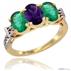 10K Yellow Gold Natural Amethyst & Emerald Sides Ring 3-Stone Oval 7x5 mm Diamond Accent