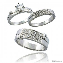Sterling Silver Cubic Zirconia Trio Engagement Wedding Ring Set for Him & Her 7 mm, L 5 - 10 & M 8 - 14