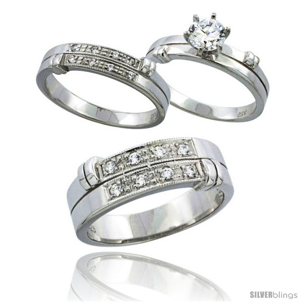 Sterling Silver Cubic Zirconia Trio Engagement Wedding Ring Set for Him &