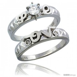 Sterling Silver Cubic Zirconia Ladies' Engagement Ring Set 2-Piece 1/2 ct size, 3/16 in wide