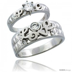 Sterling Silver Cubic Zirconia Engagement Rings Set for Him & Her 7mm Man's Wedding Band