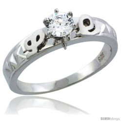 Sterling Silver Cubic Zirconia Solitaire Engagement Ring Set 1/2 ct size Brilliant cut, 3/16 in wide