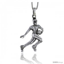 Sterling Silver Football Player Pendant, 1 1/4 in tall