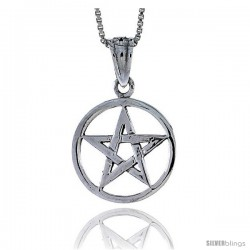 Sterling Silver Star Pentagon Pendant, 3/4 in tall