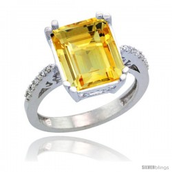 Sterling Silver Diamond Natural Citrine Ring 5.83 ct Emerald Shape 12x10 Stone 1/2 in wide