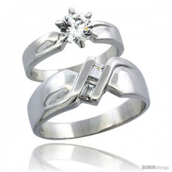 Sterling Silver Cubic Zirconia Engagement Rings Set for Him & Her 6mm Man's Wedding Band )