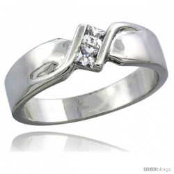 Sterling Silver Cubic Zirconia Ladies' Wedding Band Ring, 5/32 in wide