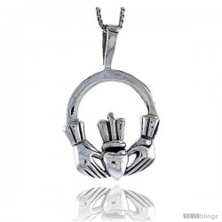 Sterling Silver Celtic Claddagh Pendant, 1 in tall
