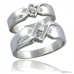 Sterling Silver Cubic Zirconia Wedding Band Ring 2-Piece Set 6 mm Him & Hers 4 mm