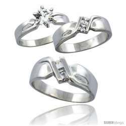 Sterling Silver Cubic Zirconia Trio Engagement Wedding Ring Set for Him & Her 6 mm, L 5 - 10 & M 8 - 14