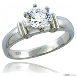 Sterling Silver Cubic Zirconia Solitaire Engagement Ring 1 ct size Brilliant cut, 3/16 in wide -Style Agcz607er