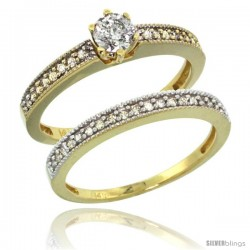 14k Gold 2-Pc. Diamond Engagement Ring Set w/ 0.50 Carat Brilliant Cut Diamonds, 1/8 in. (3mm) wide