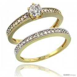 14k Gold 2-Pc. Diamond Engagement Ring Set w/ 0.50 Carat Brilliant Cut Diamonds, 1/8 in. (3mm) wide
