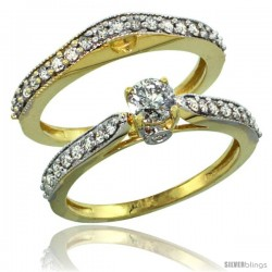 14k Gold 2-Pc. Diamond Engagement Ring Set w/ 0.92 Carat Brilliant Cut Diamonds, 1/8 in. (3mm) wide