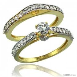 14k Gold 2-Pc. Diamond Engagement Ring Set w/ 0.92 Carat Brilliant Cut Diamonds, 1/8 in. (3mm) wide