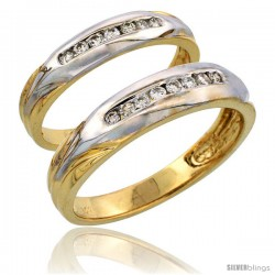 14k Gold 2-Piece His (5mm) & Hers (3.5mm) Diamond Wedding Band Set w/ Rhodium Accent, w/ 0.28 Carat Brilliant Cut Diamonds