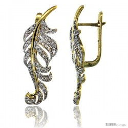 14k Gold Large Leaf Diamond Earrings w/ 0.82 Carat Brilliant Cut ( H-I Color VS2-SI1 Clarity ) Diamonds