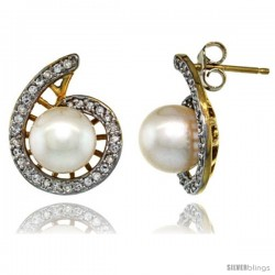 14k Gold Swirl Pearl Earrings w/ 0.33 Carat Brilliant Cut ( H-I Color VS2-SI1 Clarity ) Diamonds & 7mm White Pearls