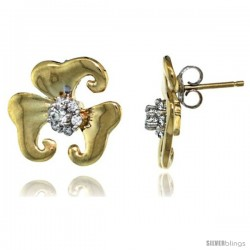 14k Gold Flower Earrings w/ 0.32 Carat Brilliant Cut ( H-I Color VS2-SI1 Clarity ) Diamonds